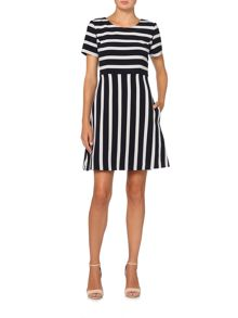 Hugo Boss Amody striped fit and flare dress