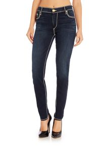 True Religion Halle Mid Rise Super Skinny Jean in Shady Blue