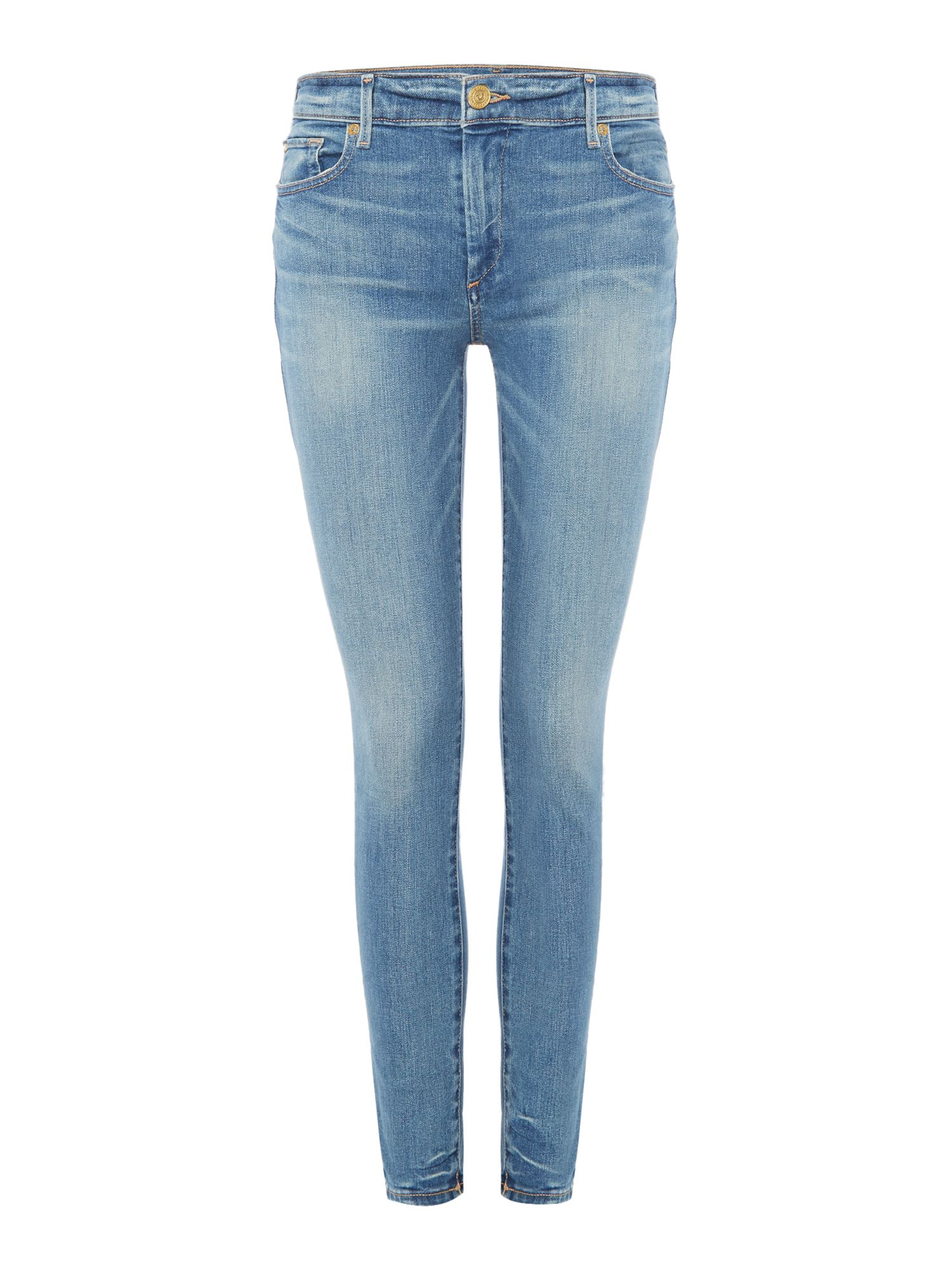 Halle Mid Rise Super Skinny In Gypset Blue, Denim Mid Wash