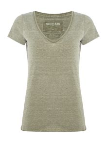 True Religion V neck burn out t-shirt