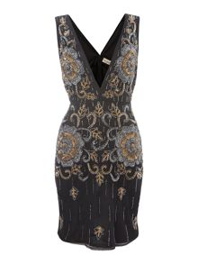 Lace and Beads Sleeveless Plunge Embellished Bodycon Dress