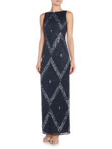 Lace and Beads Sleeveless Full Embellished Maxi Dress