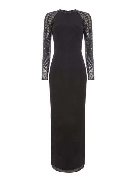 Lace and Beads Long Sleeved Embellished Open Back Maxi Dress