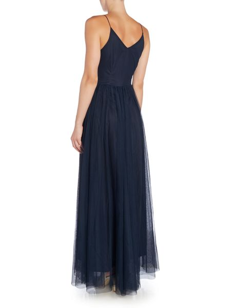 Lace and Beads Sleeveless V Neck Chiffon Embellished Maxi Dress