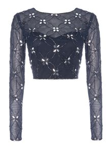 Lace and Beads Long Sleeved Sheer Embellished Crop Top