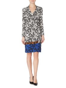 Linea Border print wrap dress