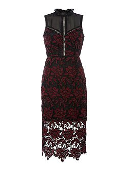 Sleeveless Crochet and Lace Mix Bodycon Dress