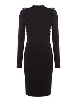 Long Sleeved Frill Front Bodycon Dress