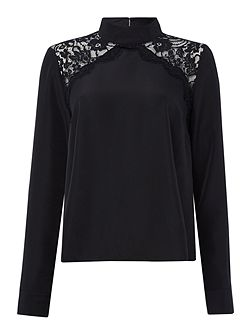 Long Sleeved Chevron Lace High Neck Blouse
