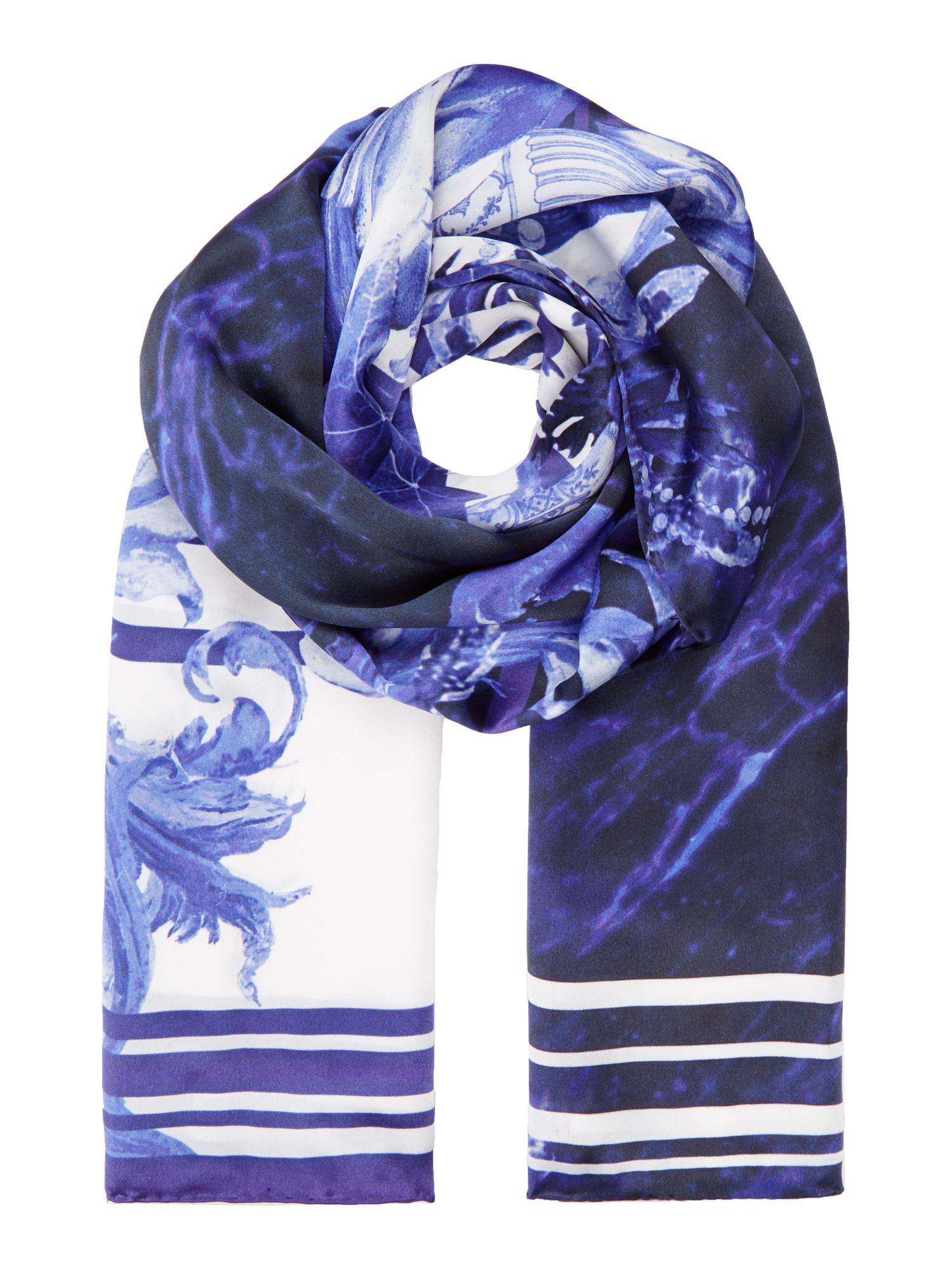 Ted Baker Persian blue long silk scarf Navy
