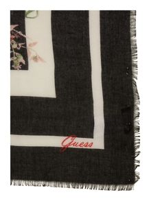 Guess Floral tassel square scarf