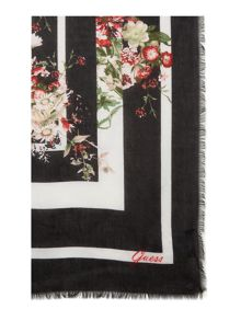 Guess Large floral and leopard print scarf