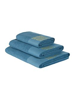 Embroidered Border Towel Teal
