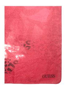 Guess Leopard logo square scarf