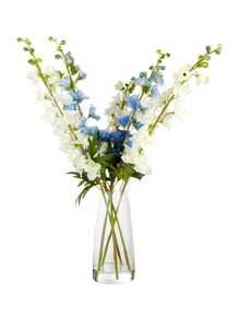 Linea White and blue delphinium arrangement