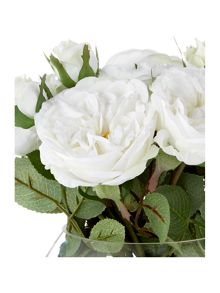 Linea White open rose arrangement
