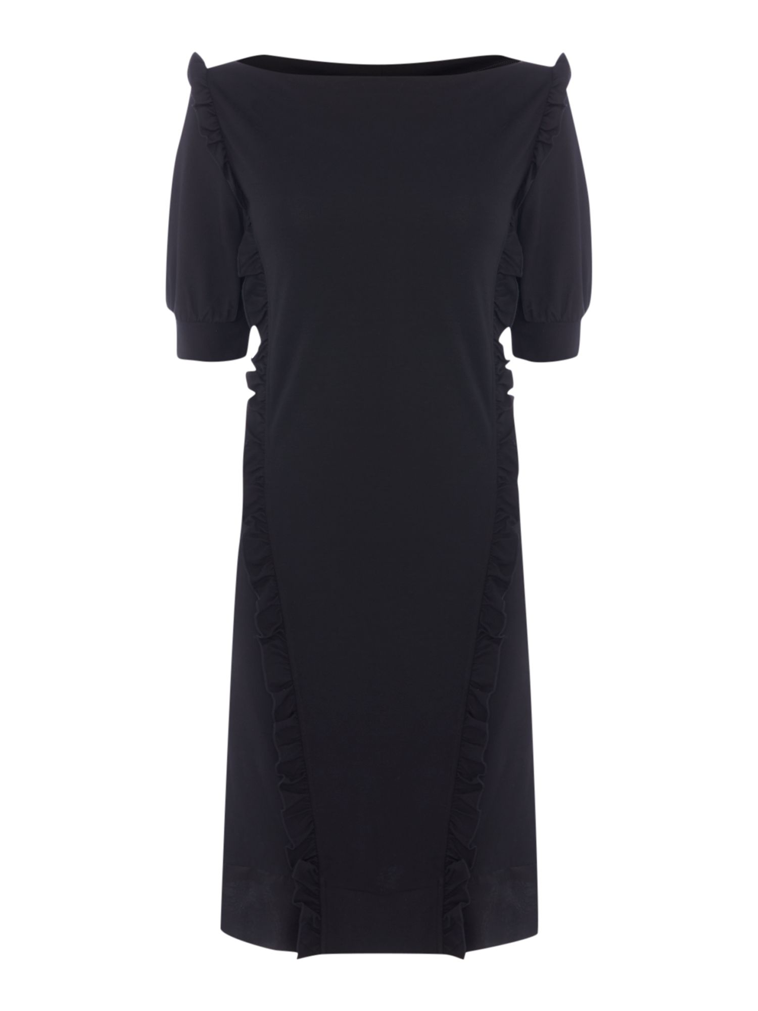 Marella CARACAS boatneck dress with frill detail, Black
