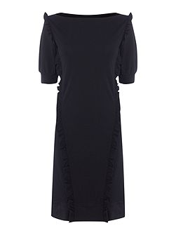 CARACAS boatneck dress with frill detail