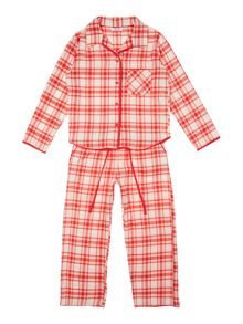 Minijammies Girl`s PJ brush check Long Sleeve