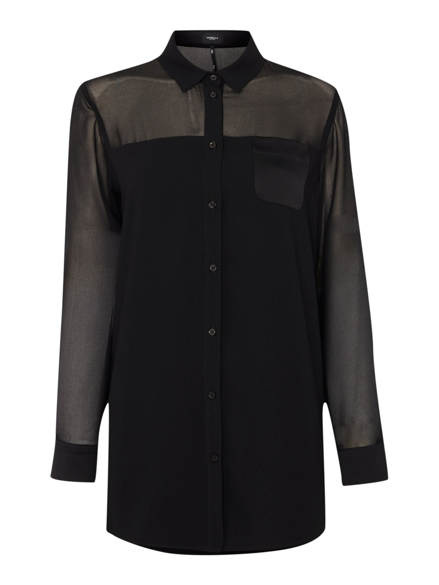 Marella SPIRA Longsleeve sheer panel shirt, Black