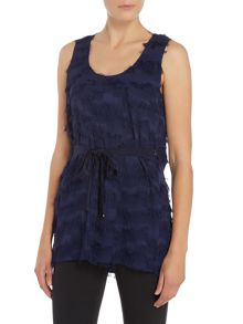 Marella DIOXIDE sleeveless tassle top with scoop neck
