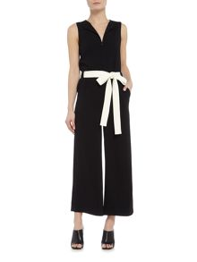 Marella MINCIO sleeveless zip front jumpsuit with belt