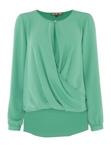 Biba Drape front button detail blouse