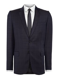 Shadow Checked Slim Fit Suit Jacket