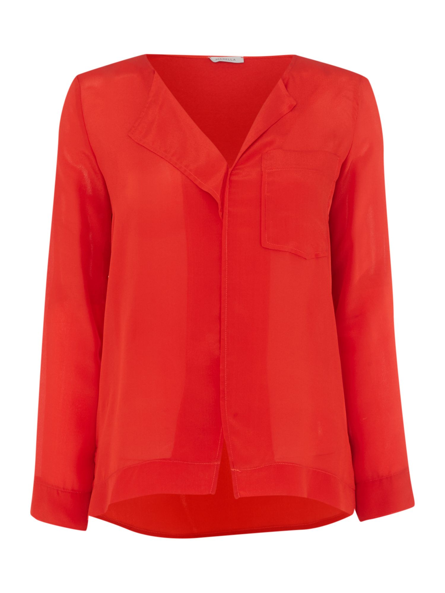 Marella LAGUNA longsleeve dropped hem blouse, Red