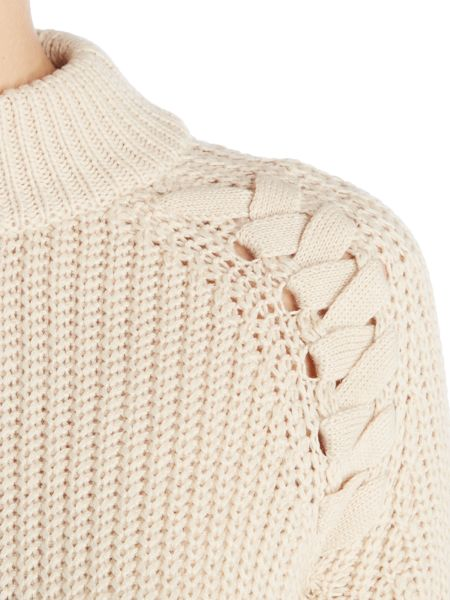 Lost Ink Long Sleeved Lace Up Longline Jumper