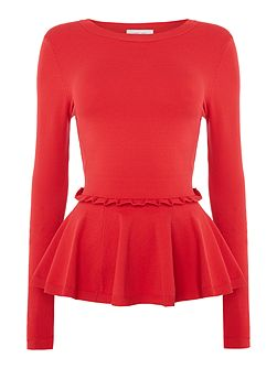 Long Sleeved Frill Waist Peplum Knitted Jumper