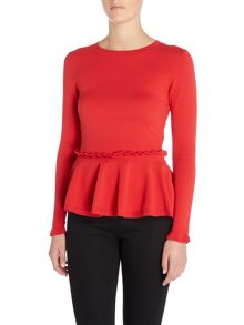 Lost Ink Long Sleeved Frill Waist Peplum Knitted Jumper