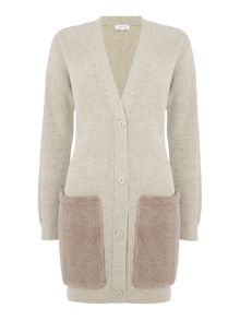 Lost Ink Long Sleeved Knitted Cardigan with Fur Pockets