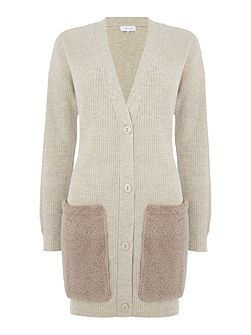 Long Sleeved Knitted Cardigan with Fur Pockets