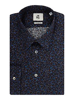 Long Sleeved Hole Punch Print Shirt