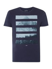 Criminal Mountain Stripe Graphic Tshirt