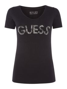 Guess Long Sleeve V Neck Guess Tee
