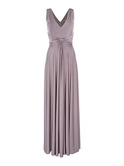 Ruched front full skirted maxi event dress