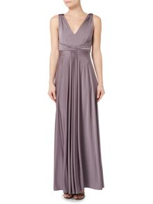 Biba Ruched front full skirted maxi event dress