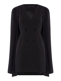Long Sleeved Button Front Mini Cape Dress