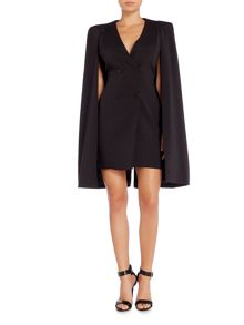 Lavish Alice Long Sleeved Button Front Mini Cape Dress