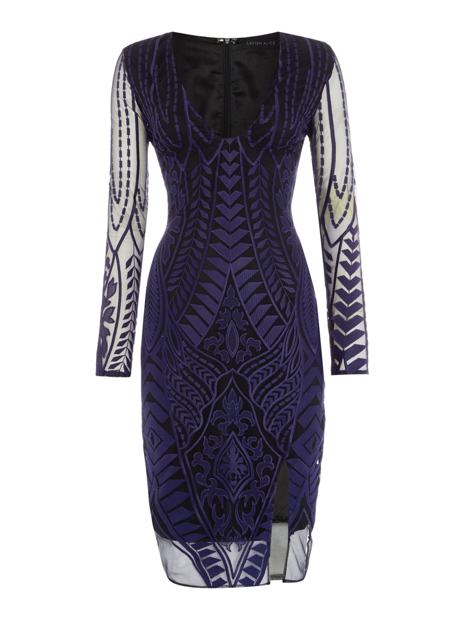 Lavish Alice Long Sleeved Embroidered Bodycon Dress, Blue