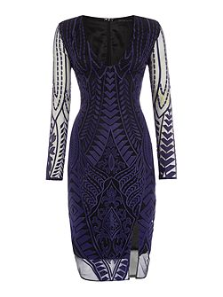 Long Sleeved Embroidered Bodycon Dress