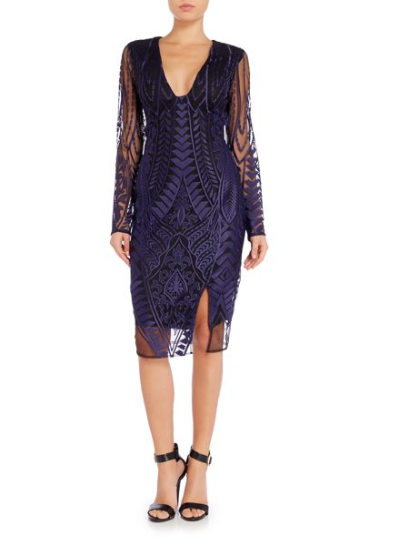 Lavish Alice Long Sleeved Embroidered Bodycon Dress