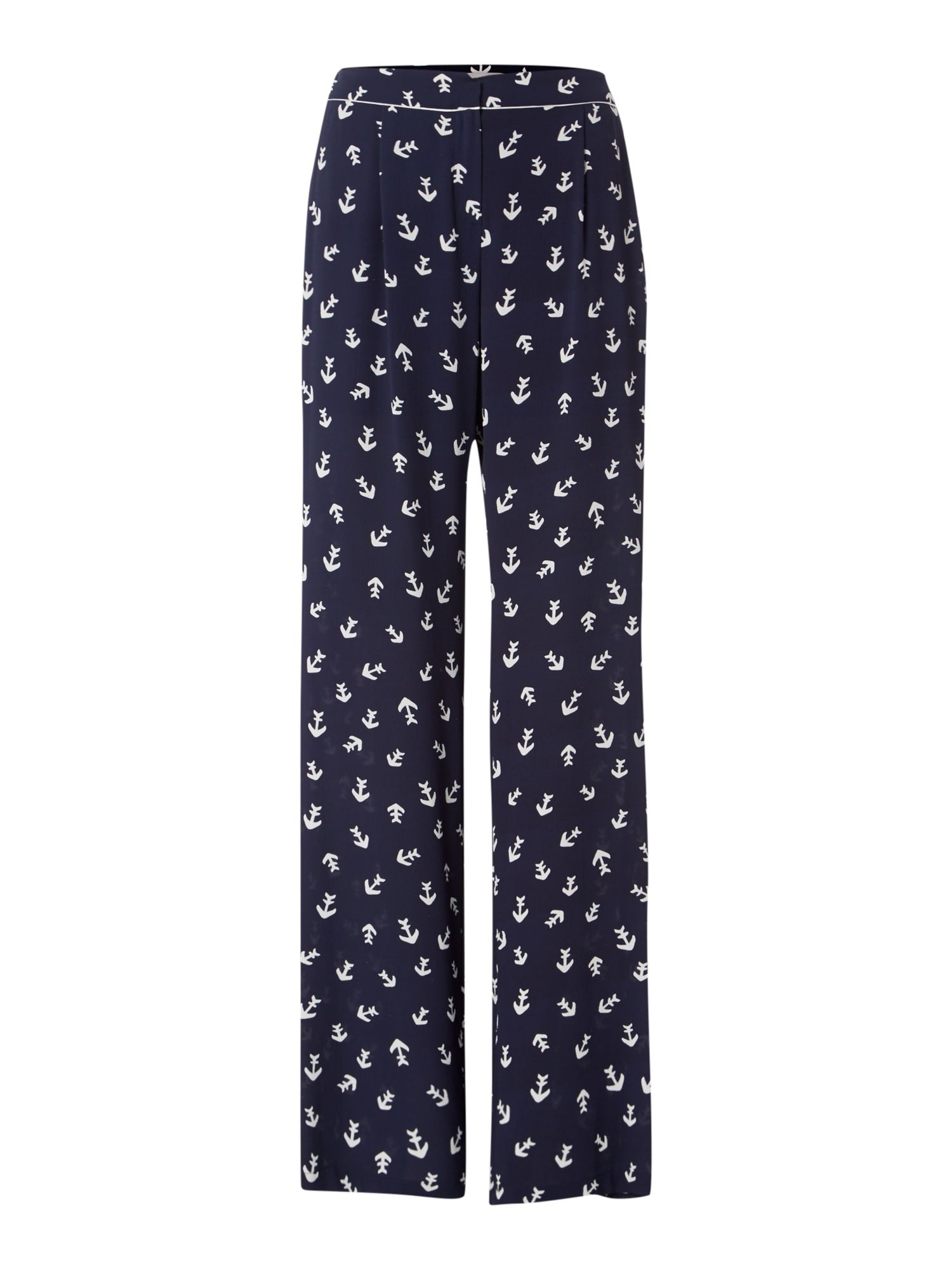 Marella RELAX anchor print palazzo print trouser, Blue