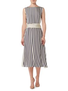 Marella MANTIDE sleeveless mixed stripe maxi dress