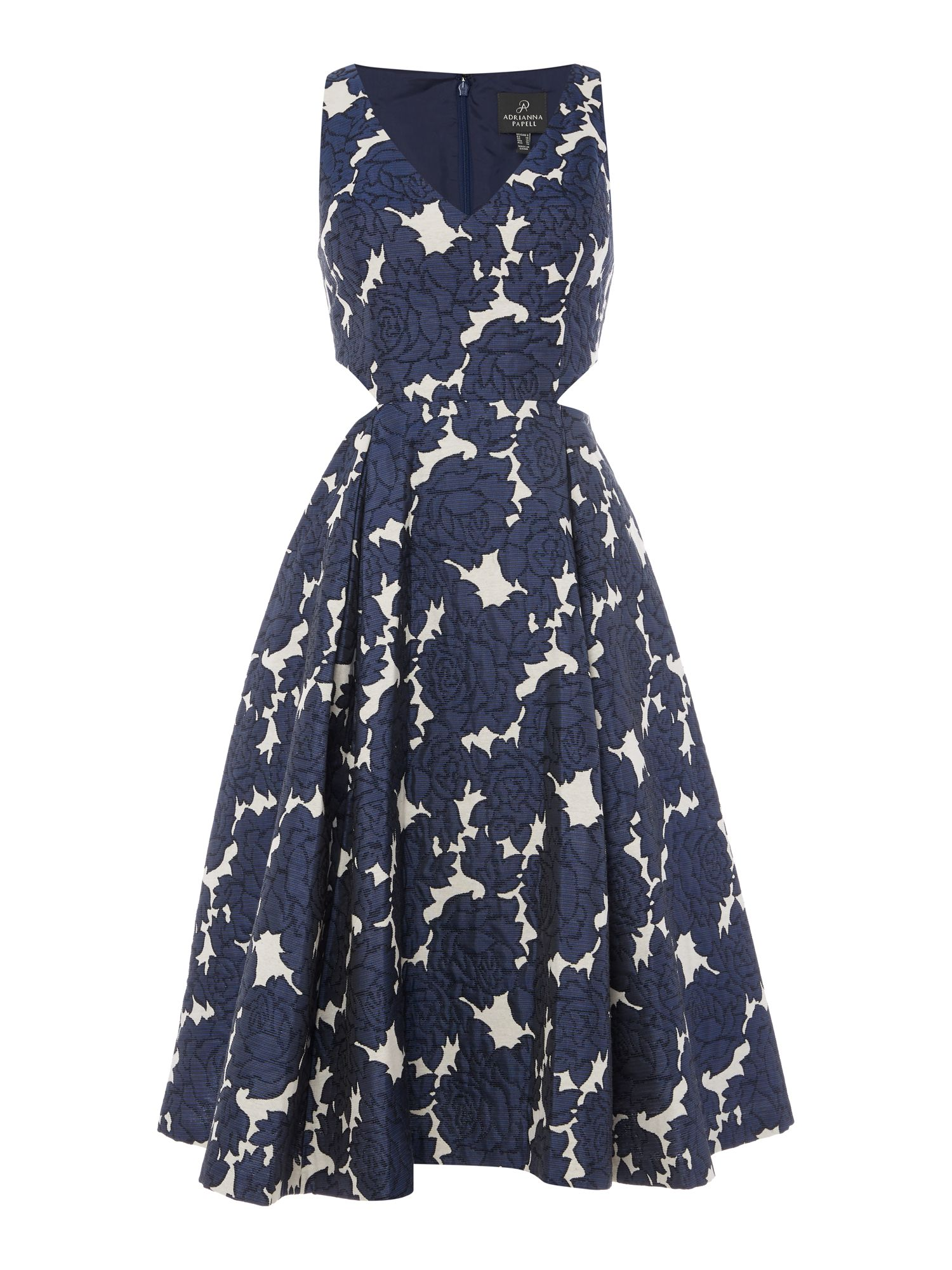Adrianna Papell V neck fit and fare dress with side splits Navy & White