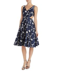 Adrianna Papell V neck fit and fare dress with side splits