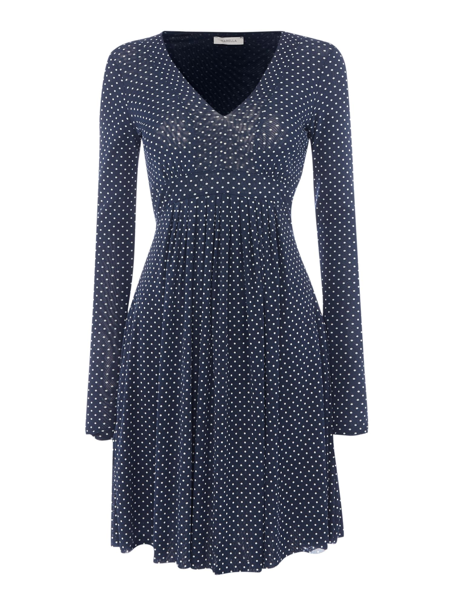 Marella PANFILO longsleeve mini dot dress, Blue