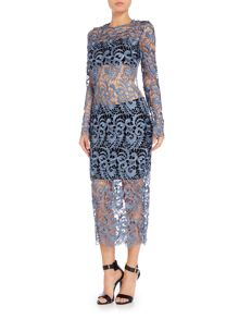 Lavish Alice Long Sleeved Open Back Lace Midi Dress